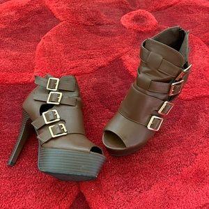 Brown Boot Buckle Strap Heels